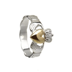 Silver Claddagh Ring with 10 carat Gold Heart.