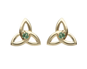 10ct yellow Trinity knot design earrings with natural emeralds