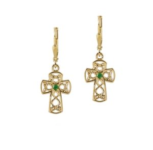 Yellow Celtic design cross lever back earrings with natural emeralds stones