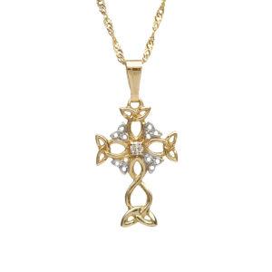 10ct Trinity knot design and diamond cross