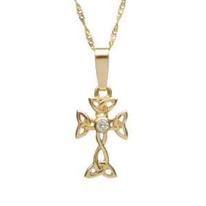 Gold diamond set Celtic design cross