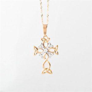 Trinity knot design and diamond cross Pendant