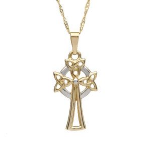 10ct yellow gold Trinity knot design Celtic design cross 18 twist