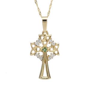 10ct yellow gold Celtic design cross natural emeralds