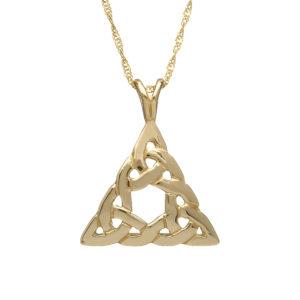 10ct gold Celtic design triangle pendant