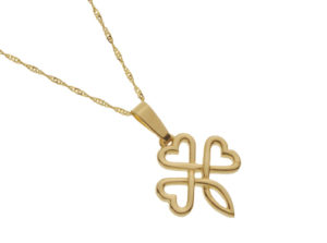 Gold Shamrock design pendant in knot work