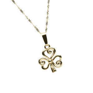 Gold Shamrock design pendant with swirling petals chain