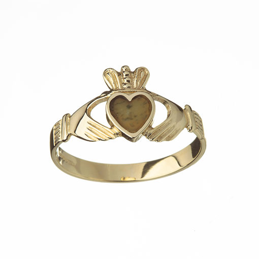 Gold Claddagh design ring with Connemara Marble