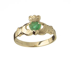 Yellow gold real natural emeralds Claddagh design ring