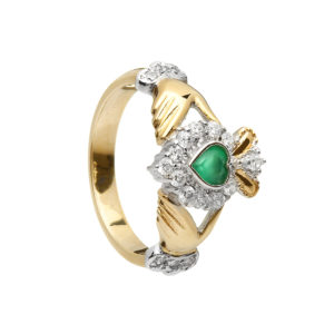 Yellow gold green agate Claddagh design ring