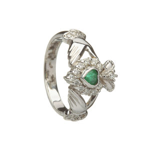 White gold diamond and natural emeralds Claddagh design ring