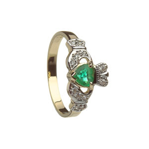 Gold Claddagh design ring with real natural emeralds and cubic zirconia
