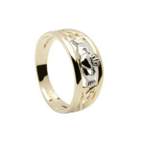 10ct yellow gold ladies ring with white gold Claddagh design and Trinity knot design