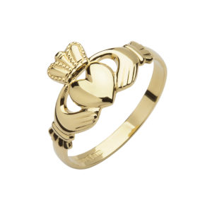 10ct yellow gold mans die struck Claddagh ring