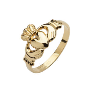 10ct yellow gold ladies die struck Claddagh ring