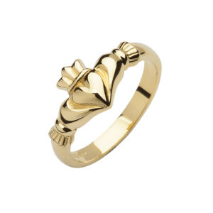 10ct yellow gold elegance Claddagh design ring