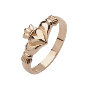 10ct rose gold elegance Claddagh design ring