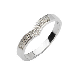 10ct white gold diamond set wishbone band