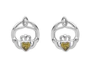 Sterling silver childrens birthstone stud earrings Aug (Peridot cz)