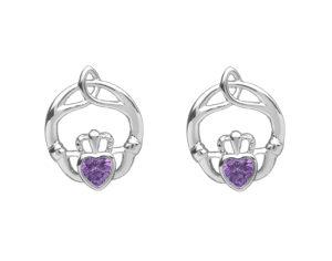Sterling silver childrens birthstone stud earrings Feb (amethyst cz)