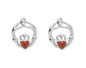 Sterling silver childrens birthstone stud Earrings Jan (garnet cz)