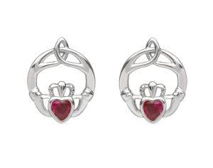 Sterling silver childrens birthstone stud earrings Jul (Ruby cz)