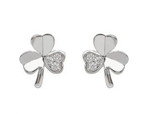 Sterling silver Shamrock design stud earrings