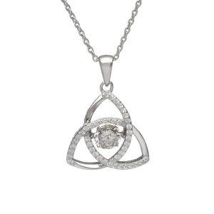 Sterling silver Dancing birthstone pendant April (CZ)