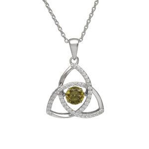 Sterling silver Dancing birthstone pendant (Peridot cz)