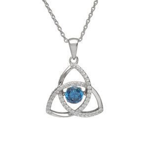 Sterling silver Dancing birthstone pendant Dec (Blue Topaz CZ)