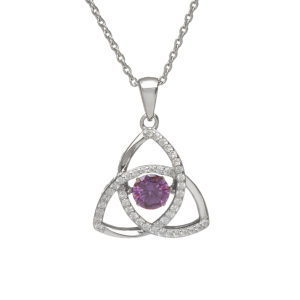 Sterling silver Dancing birthstone pendant Feb (amethyst cz)