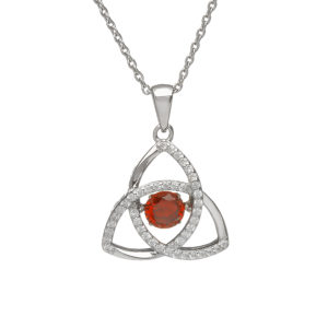 Sterling silver Dancing birthstone pendant Jan (garnet cz)