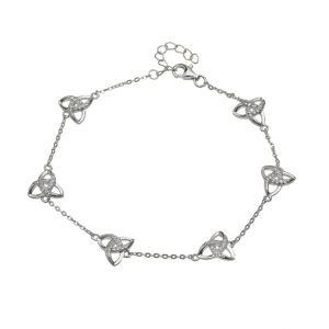 Silver CZ Trinity chain bracelet