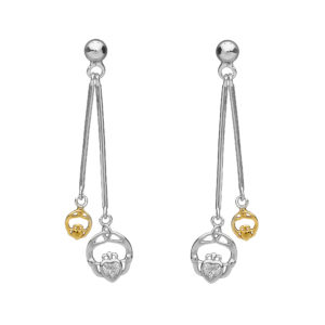 Silver double hanging CZ claddagh earrings