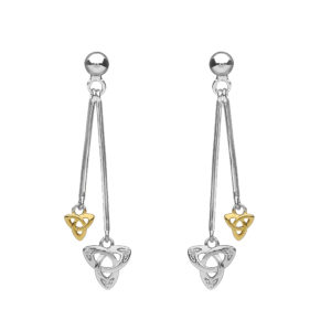 Silver double hanging CZ trinity earrings