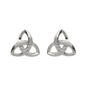 Silver CZ trinity stud earrings