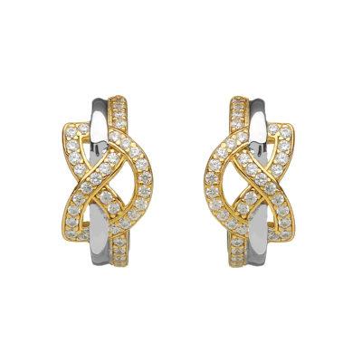 Silver CZ two tone love knot stud earrings