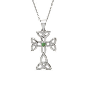 Silver Celtic Cross with green Agate Pendant