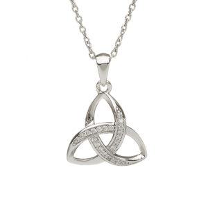 Silver CZ trinity pendant