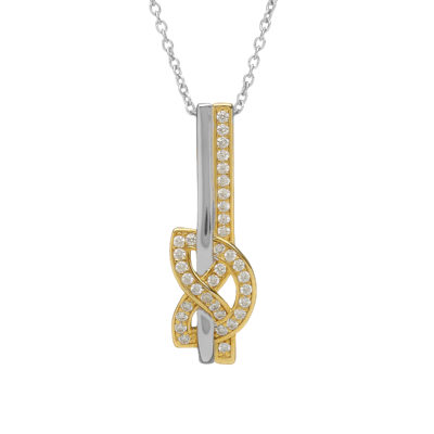 Silver CZ two tone love knot drop pendant