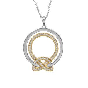 Silver CZ two tone love knot circular pendant