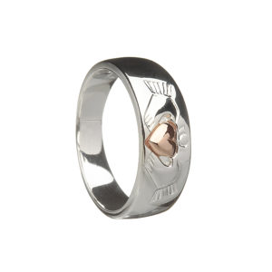 Claddagh ring with rose gold plated heart