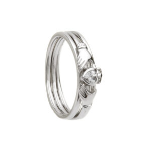 Silver CZ three part stacking claddagh ring