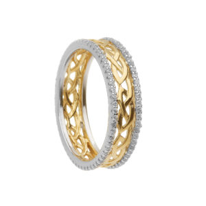 Silver CZ two tone love knot eternity band