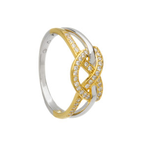 Silver CZ two tone love knot ring