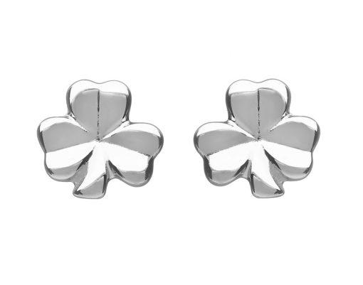 White Gold SML Solid Shamrock Stud Earring