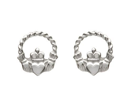 10CT White Gold SML twist wire Claddagh Stud Earrings