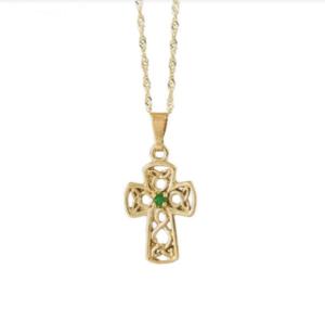 Gold Celtic design crosse pendant with Emerald in centre