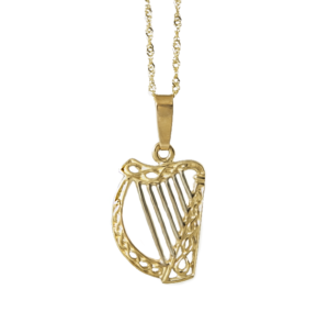 Gold Harp pendant with right-hand plated Strings