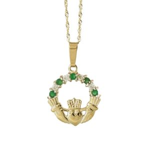Claddagh Pendant with Green CZ & Cz stones